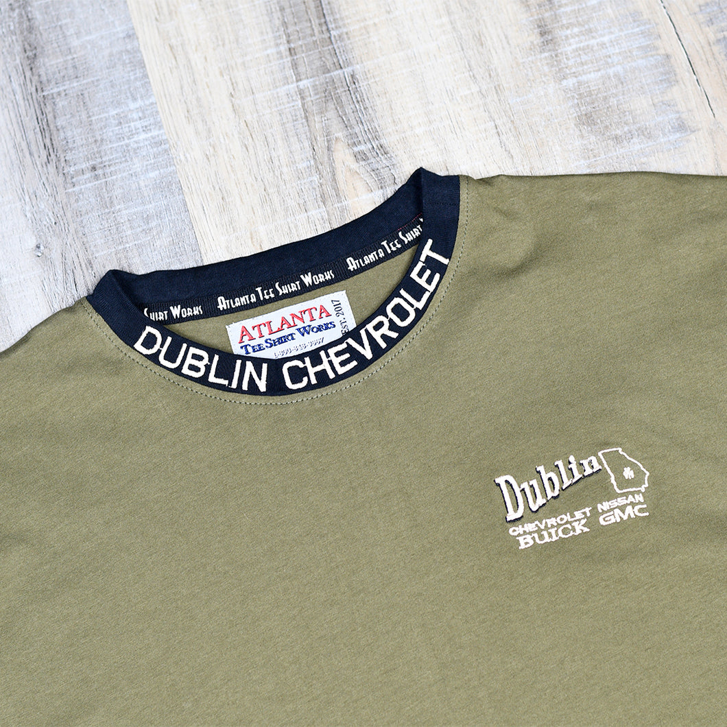 Olive Green - Short Sleeve T-Shirt w/ Small Embroidered Left Chest Logo