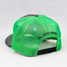 Load image into Gallery viewer, Dark Grey & Flow Green Slight-Curve Flat-Bill Snap-Back Trucker