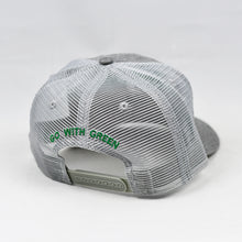 Load image into Gallery viewer, Grey Chambray Slight-Curve Flat-Bill Snap-Back Trucker