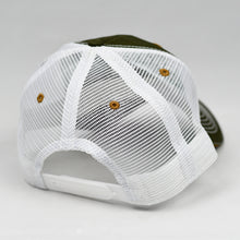 Load image into Gallery viewer, Olive Canvas & White Semi-Pro Snap-Back Trucker