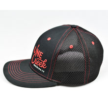 Load image into Gallery viewer, Black & Red Trims Chino Twill & Air-Mesh Slight-Curve Flat-Bill Flex-Fit Trucker