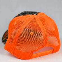 Load image into Gallery viewer, Mossy Oak Camo & Fluorescent Orange Semi-Pro Snap-Back Trucker