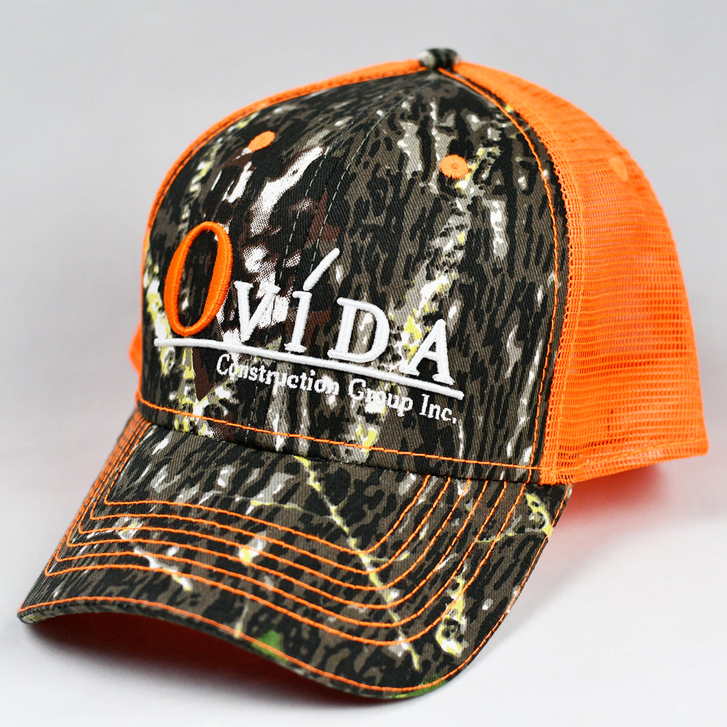Mossy Oak Camo & Fluorescent Orange Semi-Pro Snap-Back Trucker