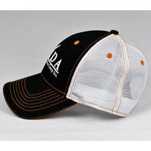 Load image into Gallery viewer, Black & White w/ Orange Trims Semi-Pro Snap-Back Trucker