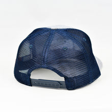Load image into Gallery viewer, Heather Grey & Navy Slight-Curve Flat-Bill Snap-Back Trucker