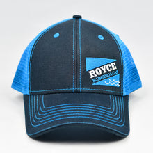Load image into Gallery viewer, Black Chino Twill & Neon Blue Semi-Pro Trucker