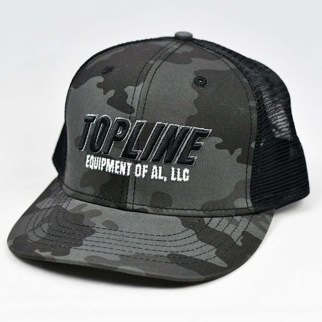 Midnight Black Camo Slight-Curve Flat-Bill Snap-Back Trucker