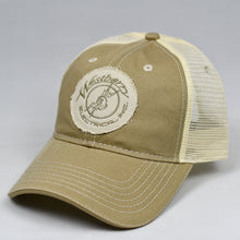 Load image into Gallery viewer, Distressed Khaki Twill & Stone Dad-Cap Trucker