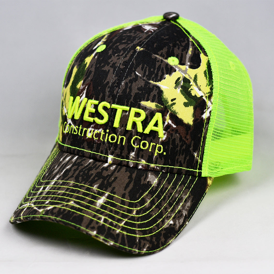 Mossy Oak & Fluorescent Yellow Semi-Pro Trucker