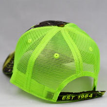 Load image into Gallery viewer, Mossy Oak & Fluorescent Yellow Semi-Pro Trucker