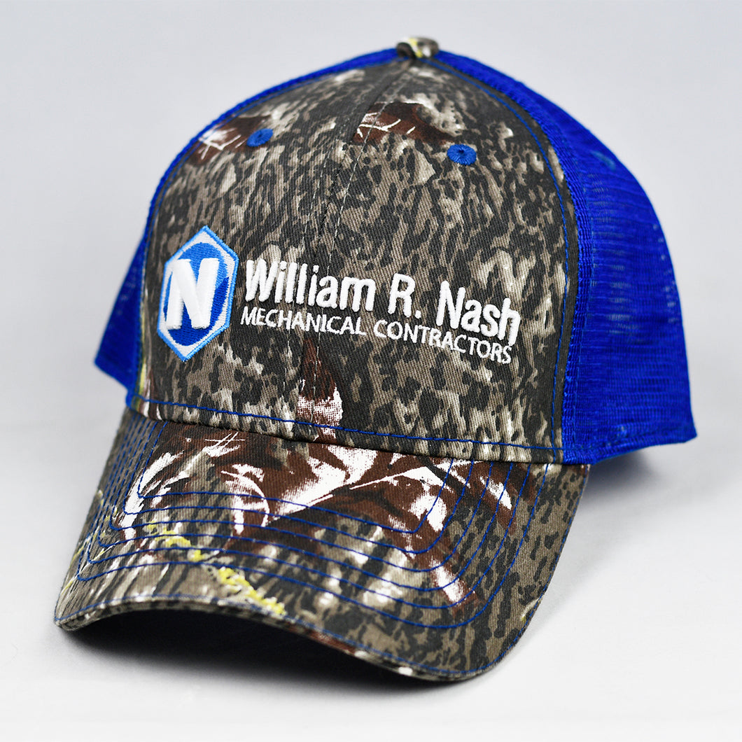 Mossy Oak Camo & Royal Blue Semi-Pro Snap-Back Trucker