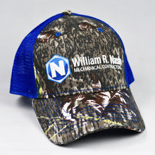 Load image into Gallery viewer, Mossy Oak Camo & Royal Blue Semi-Pro Snap-Back Trucker