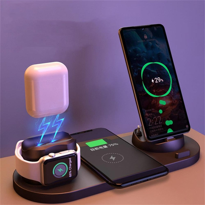 6 in 1 Wireless Charger Dock Station for iPhone/Android/Type-C USB Phones 10W Qi Fast Charging