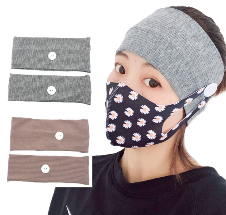 2Pcs Hair Band Button Headband Facemask Holder Wearing Mask Protect Ears Sports Quick Dry Sweat Headband for Adults