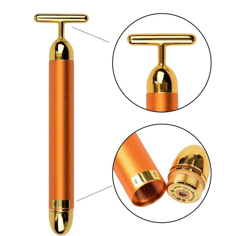 24K  Vibration Facial Beauty Bar Golden Energy Face Massager