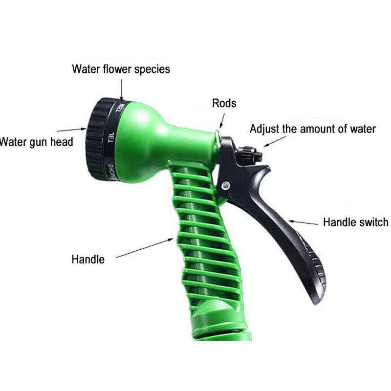 25FT Car Wash Water Gun Magic Flexible Garden Hose Expandable High Pressure Spray Gun With Pipe 7 Modes To Watering