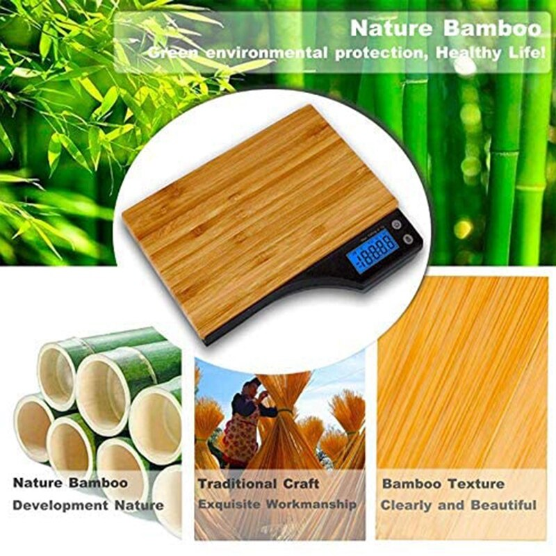 Digital Food Scale, Natural Bamboo Platform, Tare Function and Capacity for Grams and Ounces of Digital Kitchen Scale