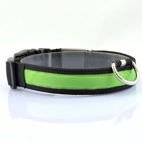 Nylon Pet Dog Collar LED Light Night Safety