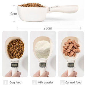 Pet Measuring Spoon Cup Of Pet Dog Food Water Scoop Scale Spoon LED Display Bowl For Cat Pets Feeder Dog Feeding Bowls