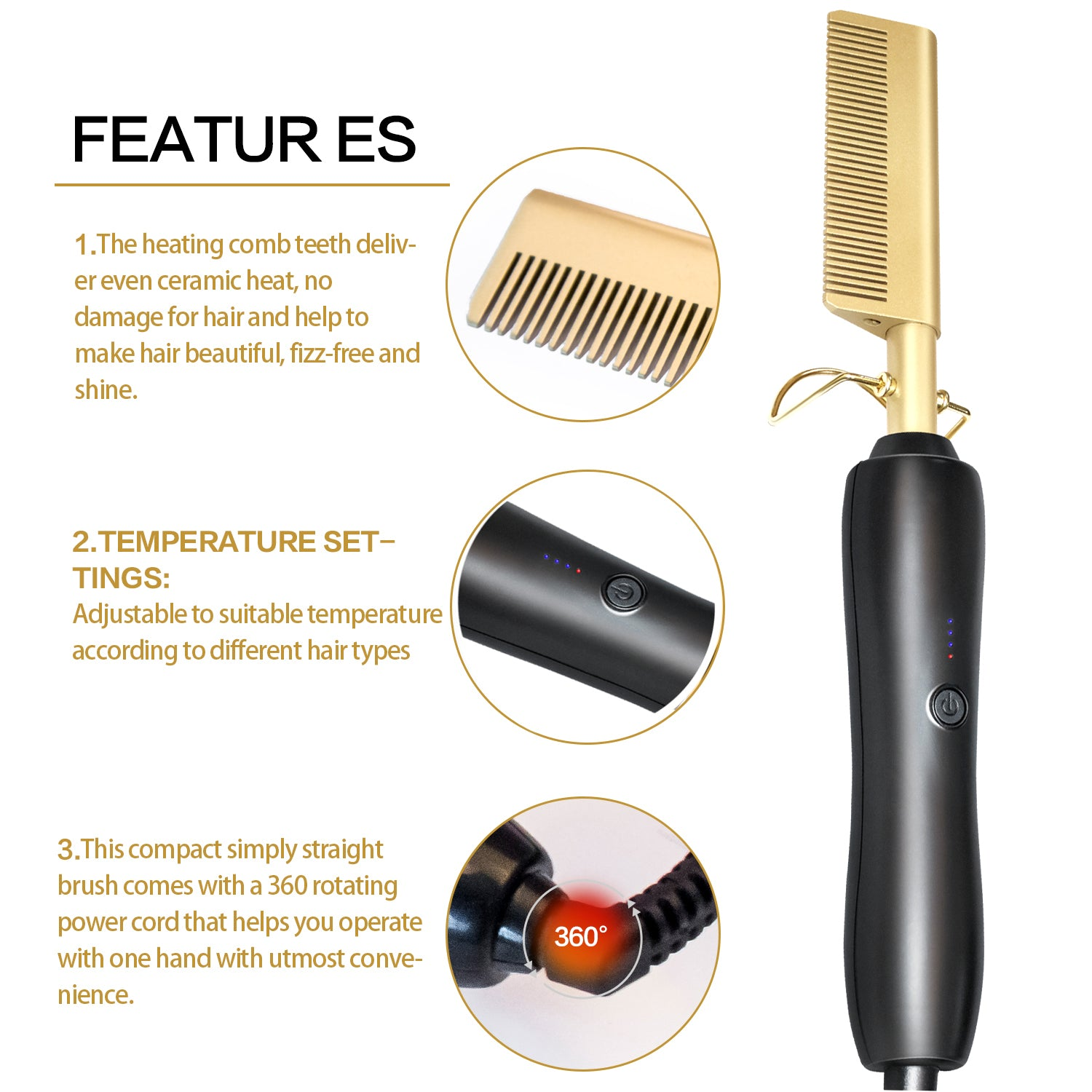 Comb Wet and Dry Hair Use Hair Curling Iron Straightener Comb Electric Environmentally Friendly Titanium Alloy Hair Curler