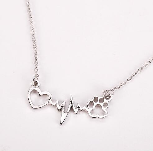 Pets Dogs Footprints Paw Heart Love Chain Pendant Necklace