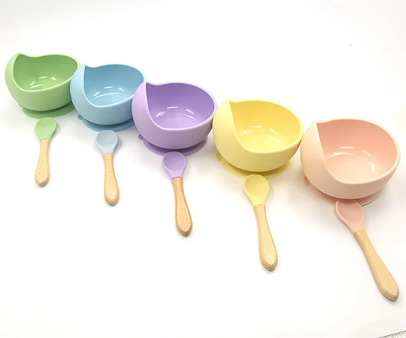 Baby Silicone Tableware Strong Sucker Water Bowl Spoon Set Children Suction Bowl Baby Food Bowl Baby Feeding Tableware