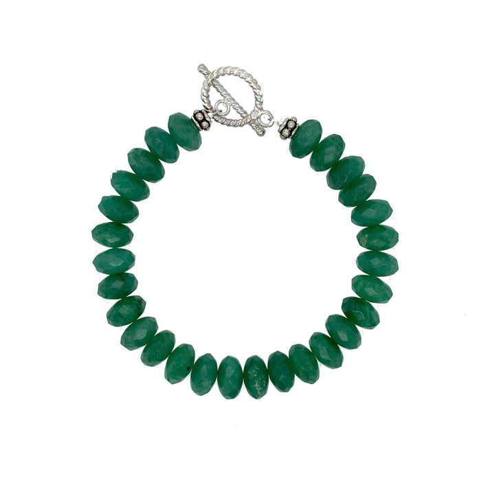 Jadeite Large Bracelet in Sterling Silver