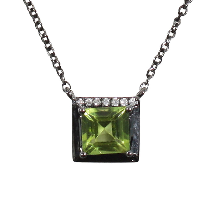 Peridot Square Necklace in Silver