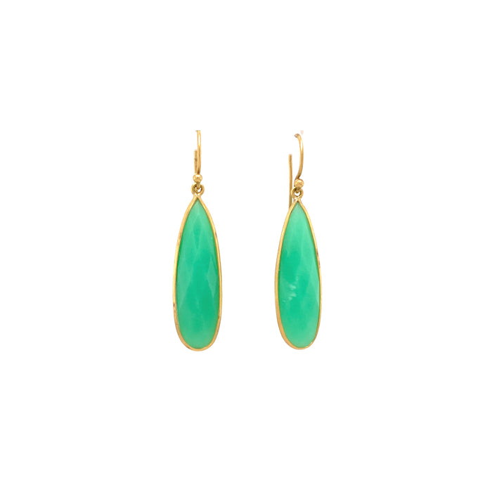 Chrysoprase Dragon Fly Wing Earrings in Yellow Gold