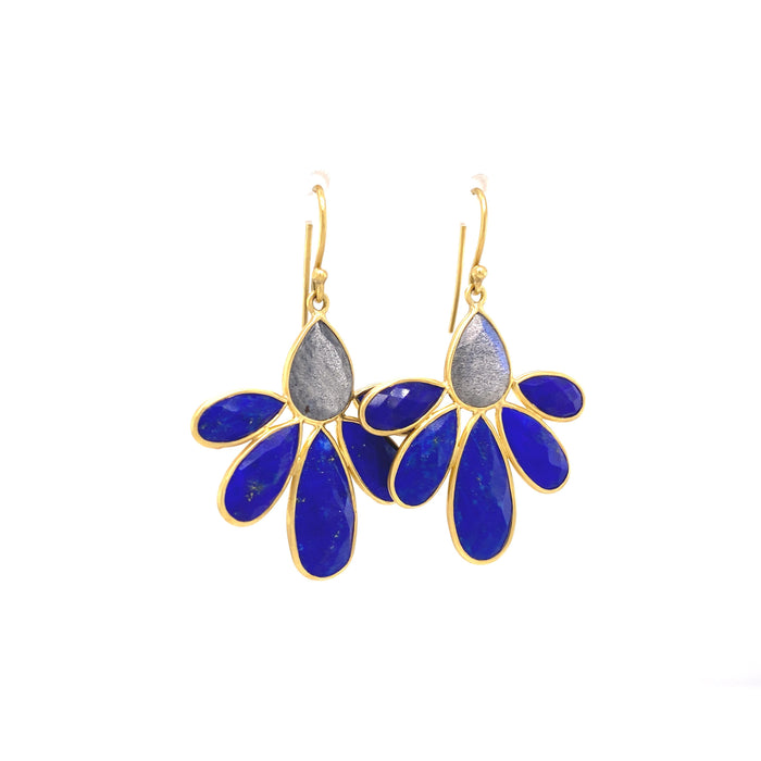 Labradorite and Lapis Autumn Echinaces Earrings in Yellow Gold