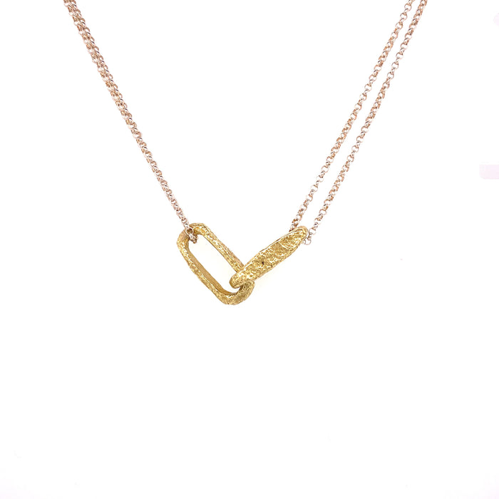 Elongated Weathered Link Necklace in Yellow Gold on Sterling Silver Chain
