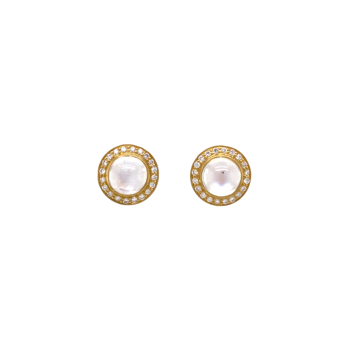 Round Moonstone Halo Stud Earrings with Diamond in Yellow Gold