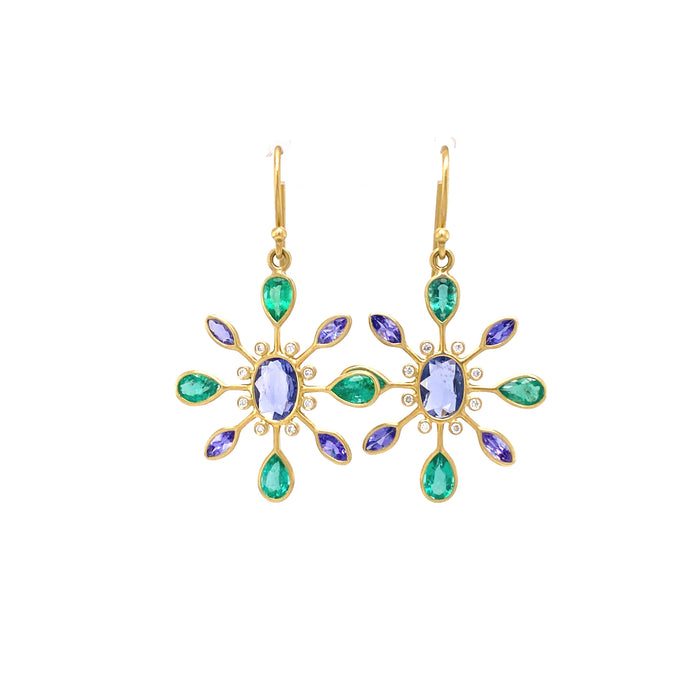 Blue Sapphire, Emerald, Tanzanite Petal Earrings with Diamond in Yellow Gold
