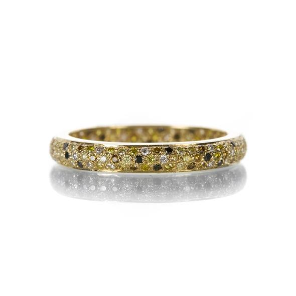 The Tire Band with Multicolor Diamond in Yellow Gold