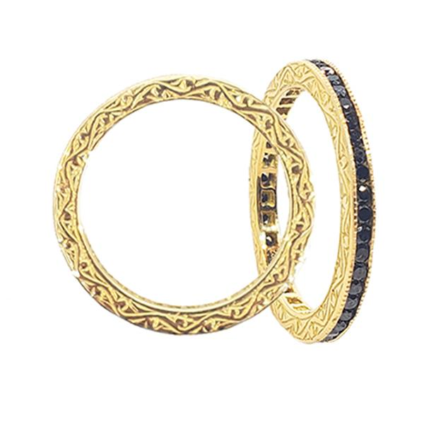 The Channel Band with Black Diamond in Yellow Gold