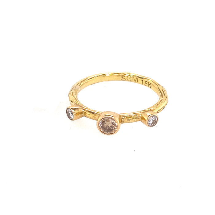 Pebble Stacking Ring with White and Cognac Diamonds in Yellow Gold