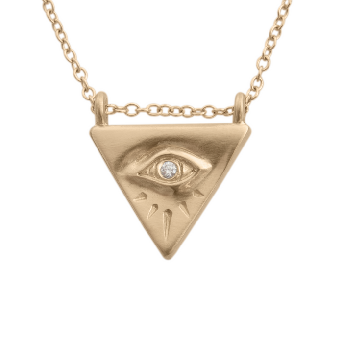 Diamond Evil Eye Pendant in Yellow Gold
