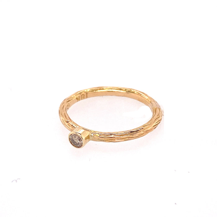 Pebble Stacking Ring with Cognac Diamond in Yellow Gold