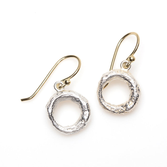 Organic Donut Drop Earrings in Sterling Silver