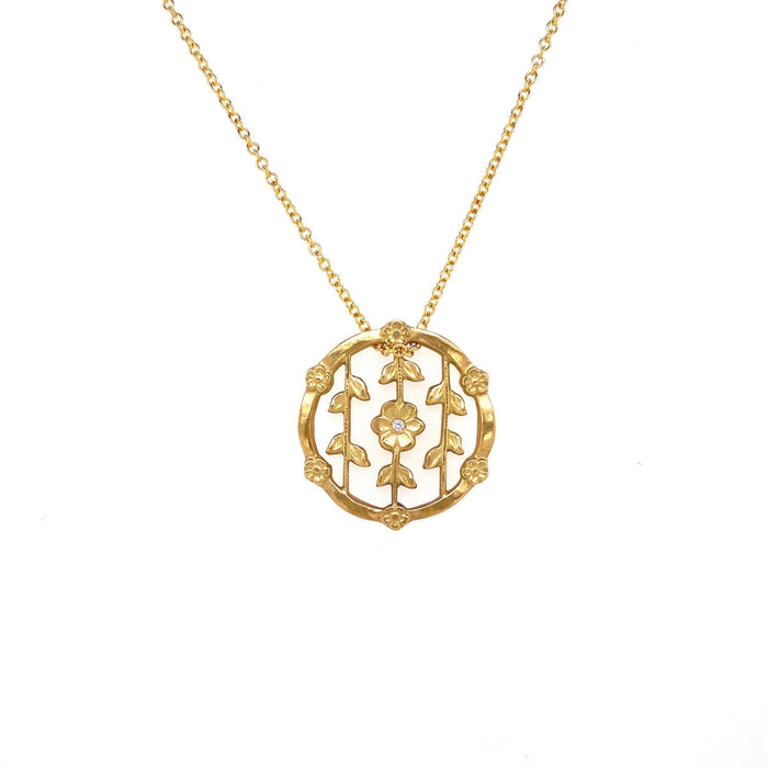 Flower Pendant Necklace with Diamond in Yellow Gold