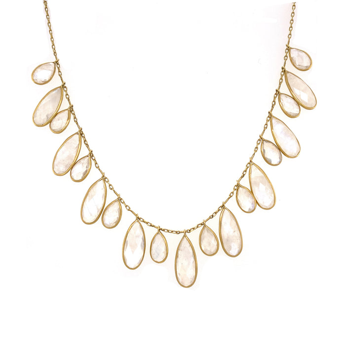 Moonstone Bee Wing Fringe Necklace in Yellow Gold