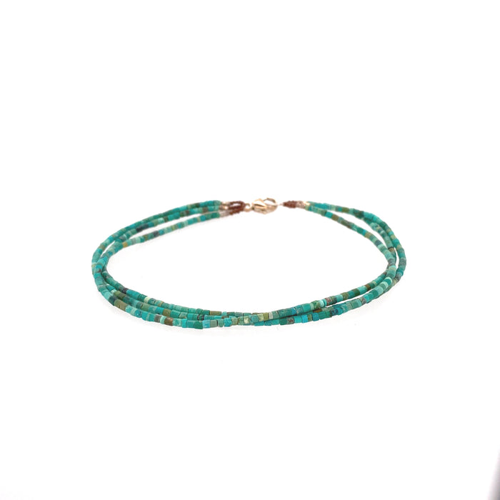 Triple Row Rough Turquoise Bracelet in Silver