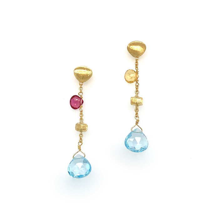 Mixed Stone & Gold Tear Drop Earrings in Yellow Gold