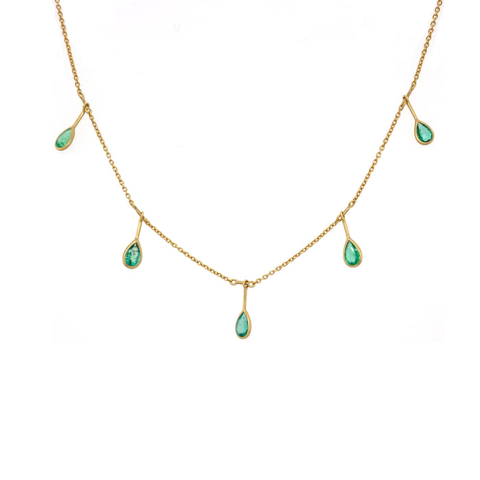 Emerald Fringe Necklace in Yellow Gold