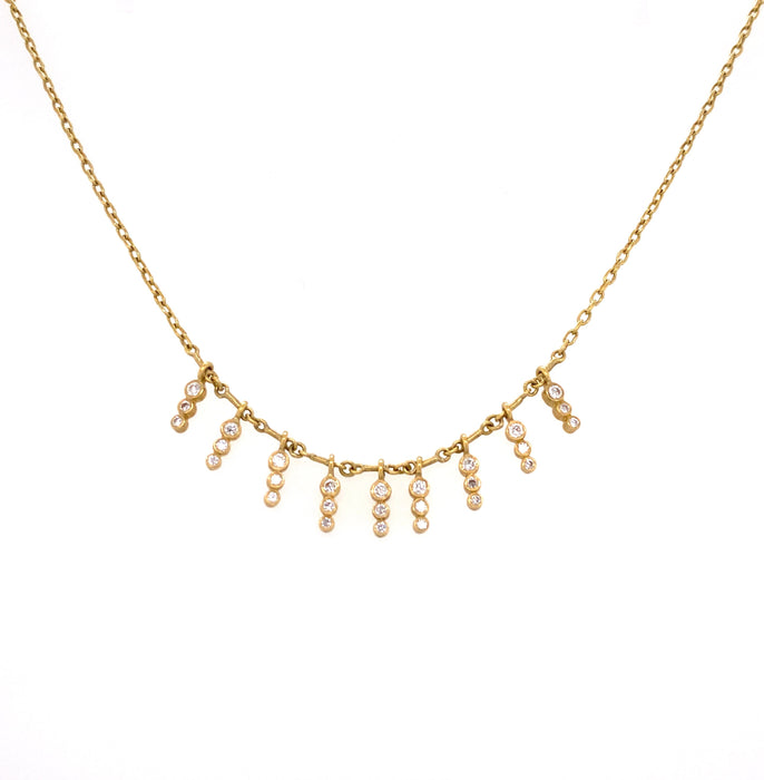 Small Icicle Diamond Demi-Fringe Necklace in Yellow Gold