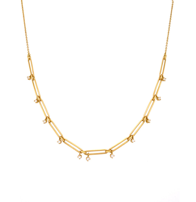 Paper Clip Necklace with Diamond in Yellow Gold