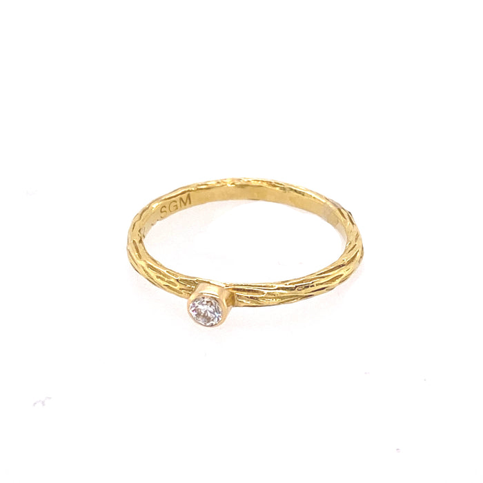 Pebble Stacker Ring with White Diamond in Yellow Gold