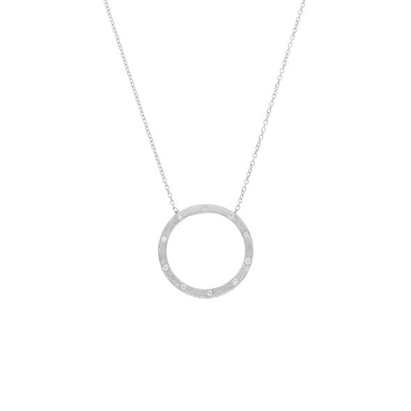 The Dunes Large Circle Necklace in White Gold