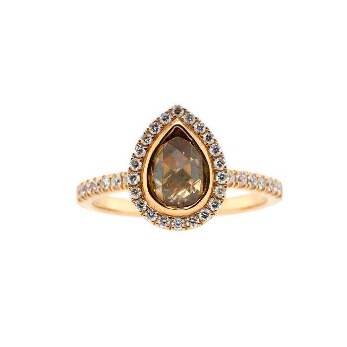 Pear Shaped Champagne Diamond Ring