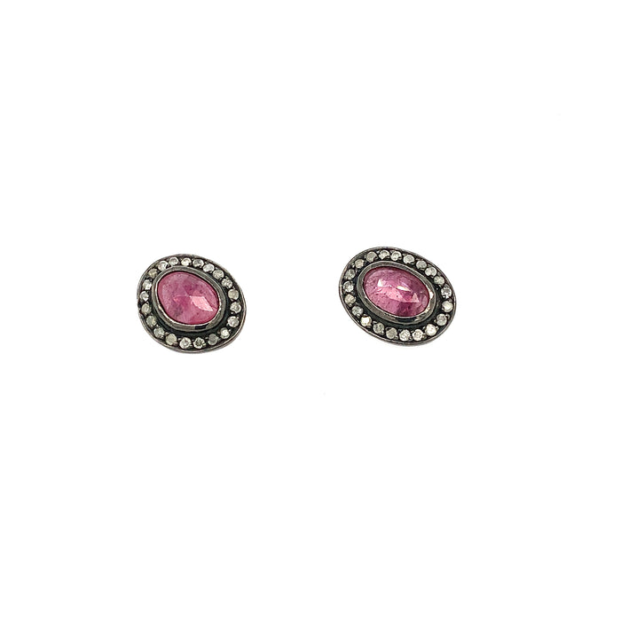 Ruby and Ice Diamond Studs in Blackened Silver